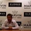 Sébastien Loeb présente sa nouvelle montre Marvin à Genève
