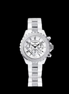 Chanel J12 Chronographe Diamants céramique blanche