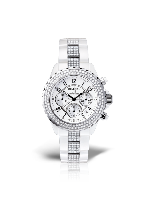 Chanel J12 Chronographe Diamants céramique blanche