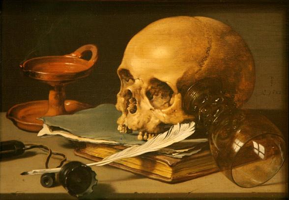 Pieter-Claesz-Nature-morte-avec-crâne-et-plume-d'écriture